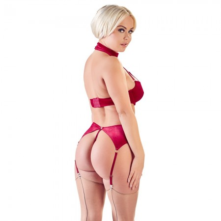 Corsetti Red Velvet Suspender Set