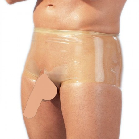 Latex Boxers With Penis Sleeve Clear