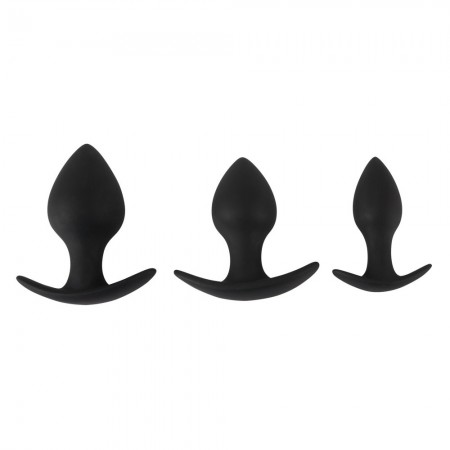 Black Velvet Silicone Three Piece Anal Training Set